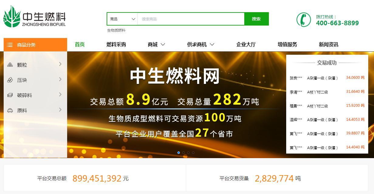 中生燃料网:生物质燃料交易规模达8.9亿元